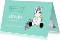 Kinderfeestjes - Uitnodiging voor kinderfeestje met eenhoorn