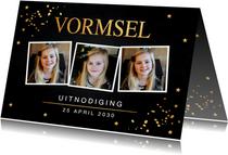 Communiekaarten - Uitnodiging Vormsel fotocollage gouden confetti