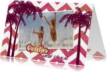 Vakantie groetjes hippe vrolijke foto kaart