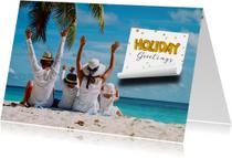 Vakantiekaart Holiday Greetings memo blaadje