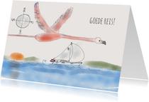 Vakantiekaart Zeilboot Flamingo