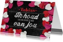 Valentijn krijtbord hartjes