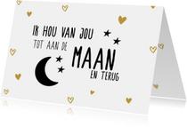 Valentijnsdagkaart tot de maan en terug