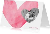 Valentijnskaarten - Valentijnskaart roze hart met foto in hartje