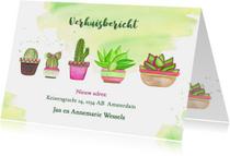 Verhuisbericht met cactussen