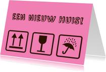 Felicitatiekaarten - Verhuissymbolen felicitatie woning roze