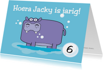 Verjaardagskaarten - Verjaardag nijlpaard kaart