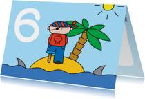 Verjaardagskaarten - Verjaardag Piraat 6 jaar