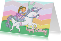 Verjaardagskaarten - Verjaardag Prinses Unicorn - TbJ