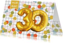 Verjaardagskaarten - Verjaardagskaart 30 met goud look en confetti