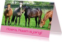 Verjaardagskaarten - Verjaardagskaart paarden in wei