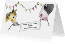 Verjaardagskaart paarden met spandoek