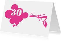 Verjaardagskaarten - Verjaardagskaart Pink gun