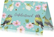 Verjaardagskaart Twee vogels bloemen
