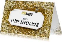 Zakelijke kerstkaart gouden glitter wit label liggend