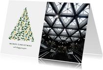 Zakelijke kerstkaart licht met foto en botanische kerstboom