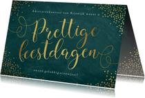 Zakelijke kerstkaart sierlijke letters goudfolie sterren