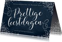 Zakelijke kerstkaart sierlijke letters sneeuwvlokken