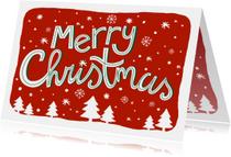 Zakelijke kerstkaart tekst sneeuw kerstbomen