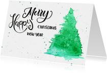Zakelijke kerstkaarten - Zakelijke kerstkaart Waterverf bomen