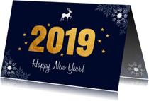 Zakelijke nieuwjaarskaart 2019 goud sneeuwvlokken