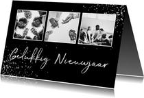 Nieuwjaarskaarten - Zakelijke nieuwjaarskaart zilver fotocollage met spetters