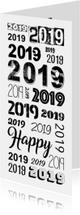 2019 herhaald in verschillende lettertypes