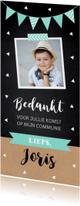 Bedankkaart communie foto driehoekjes langwerpig mint