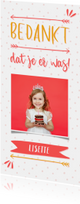 Bedankkaart meisje typografisch met confetti en eigen foto