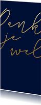 Bedankkaart met gouden tekst langwerpig