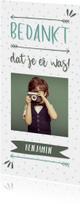 Bedankkaart typografisch met confetti en eigen foto jongen