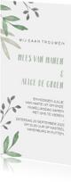 Botanische trouwkaart met groene en grijze takjes