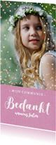 Communie bedankkaart langwerpig roze