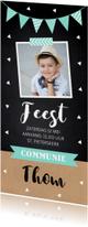 Communiekaart jongen foto confetti slinger