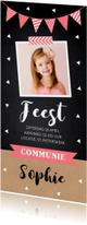 Communiekaart langwerpig foto confetti slinger meisje