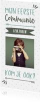 Communiekaart typografisch met confetti en eigen foto jongen