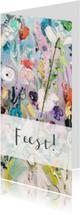 Uitnodigingen - Feest vrolijke kleurrijke bloemen