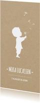 Geboortekaart langwerpig met silhouet jongen en paardebloem