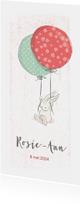 Geboortekaart meisje, konijn, ballonnen