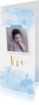 Geboortekaartje foto aquarel hartjes blauw
