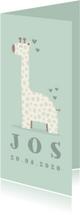 Geboortekaartje giraf langwerpig jongen met hartjes