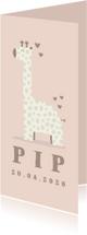 Geboortekaartje giraf meisje met hartjes