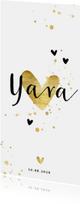 Geboortekaartje gouden hartjes en spetters