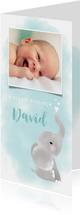 Geboortekaartje jongen met olifantje, waterverf en hartjes