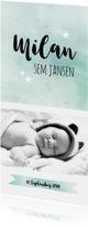 Geboortekaartjes - Geboortekaartje Jongen Waterverf