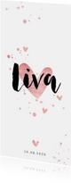 Geboortekaartje lang met roze spetters en hartjes
