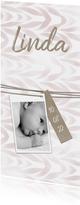 Geboortekaartje langwerpig met label en waterverf meisje