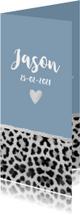 Geboortekaartjes - Geboortekaartje langwerpig panterprint hartje blauw
