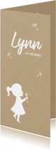 Geboortekaartje langwerpig silhouet meisje met paardebloem
