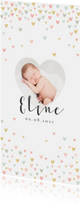 Geboortekaartje lief met hartjes en eigen foto